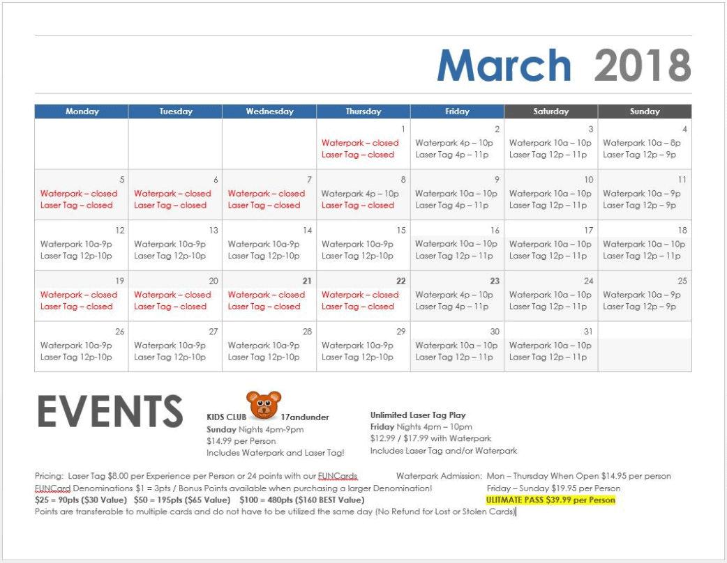 March 2018 Schedule