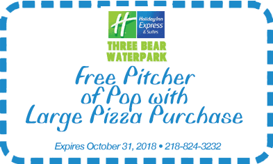 Free pitcher of pop with large pizza purchase